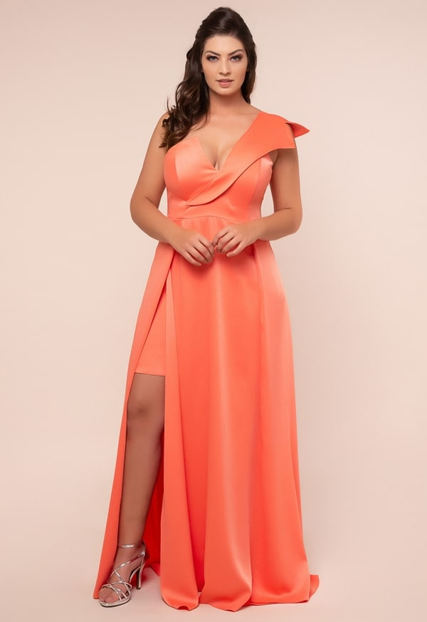 long plus size coral party dress with slit