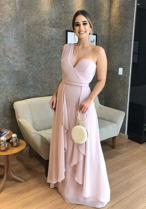 long pink dress for bridesmaid during the day