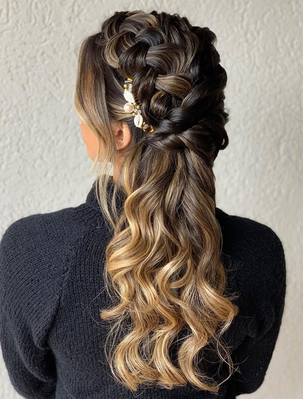 party hairstyle semi fastened with shells