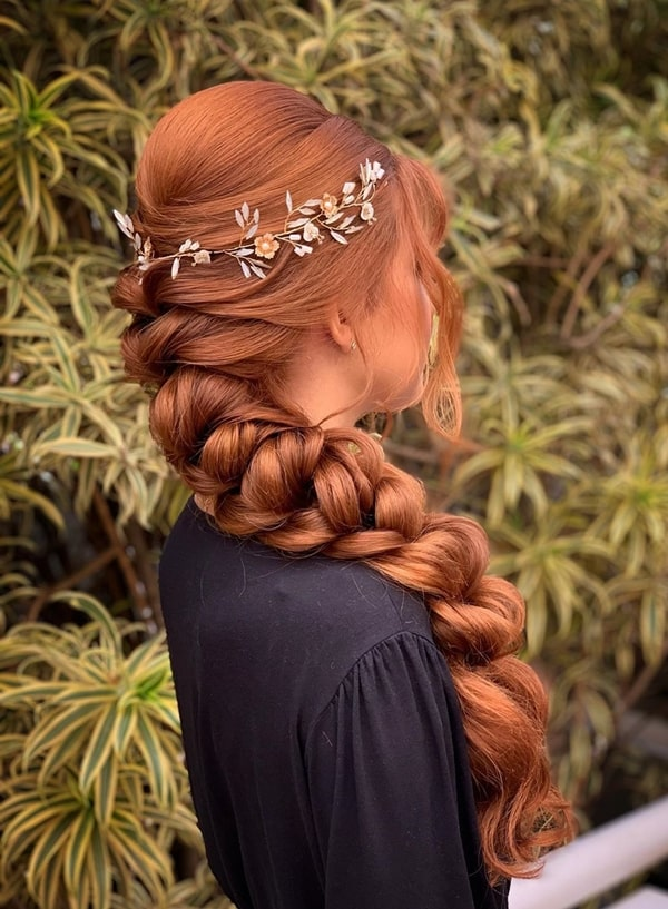 braid party hairstyle with tiara