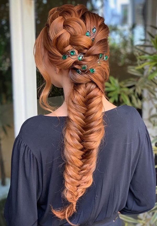 braid party hairstyle with accessories