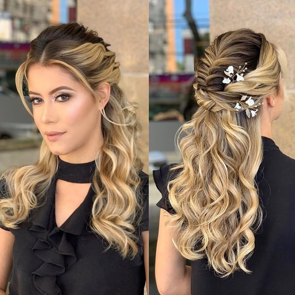 semi stuck party hairstyle
