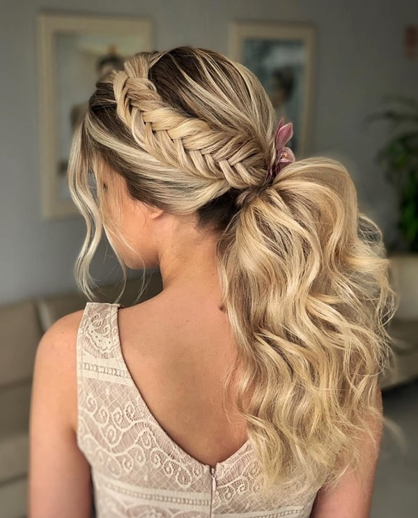 ponytail party hairstyle with braid