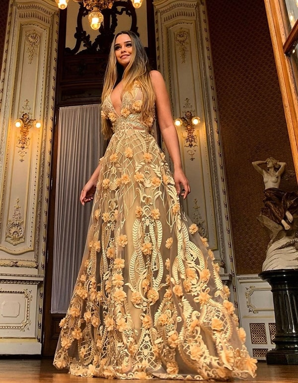 long golden party dress with 3D embroidery