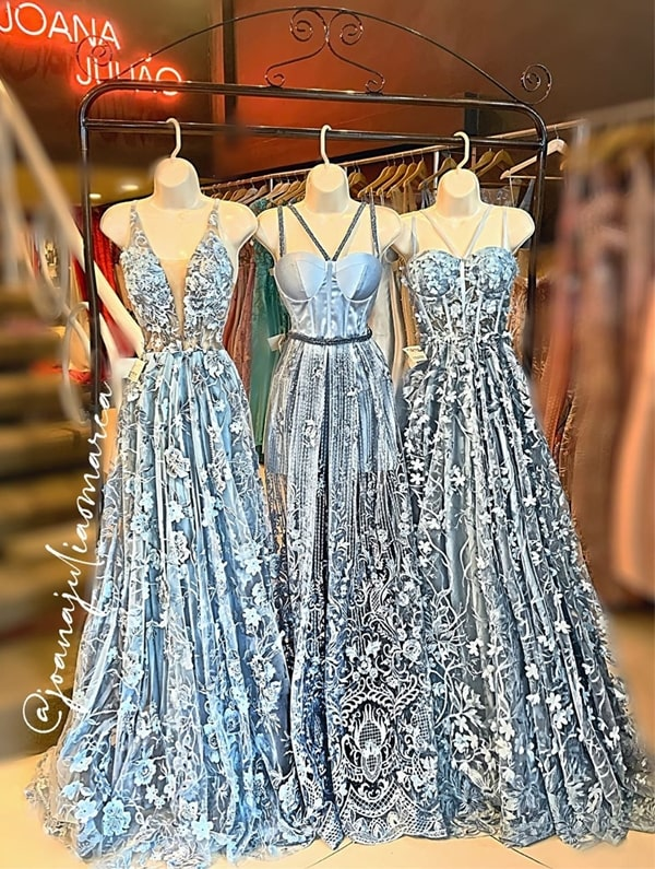 long serenity blue party dress with 3D embroidery