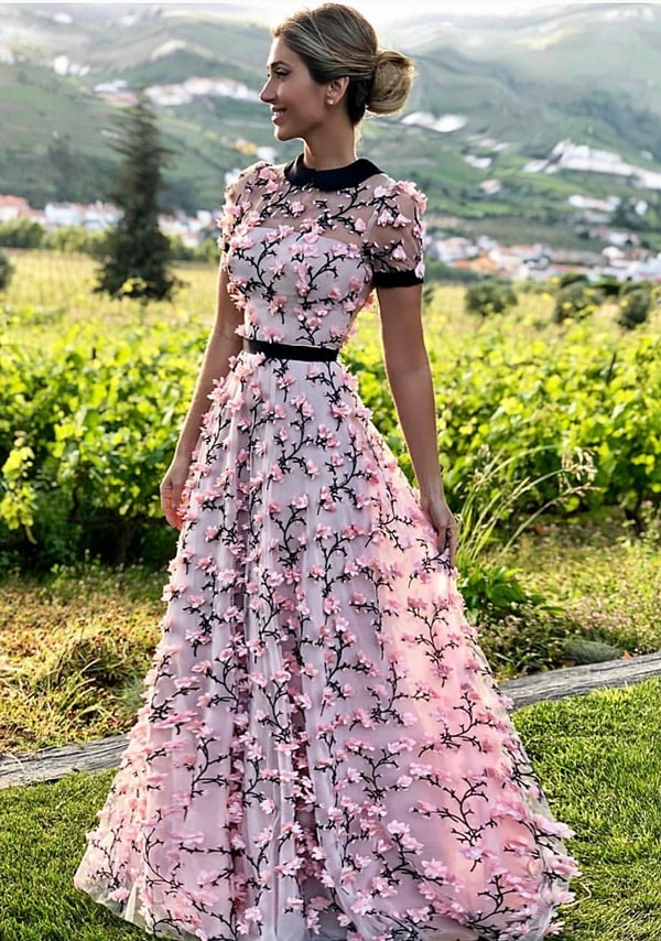 long rose party dress with 3D embroidery