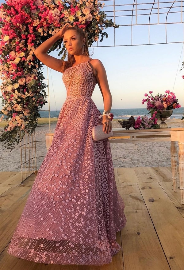 long pink party dress with 3D embroidery