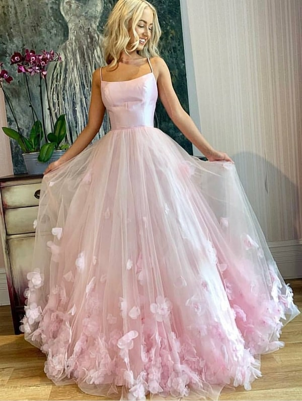 long princess rose style party dress with 3D embroidery