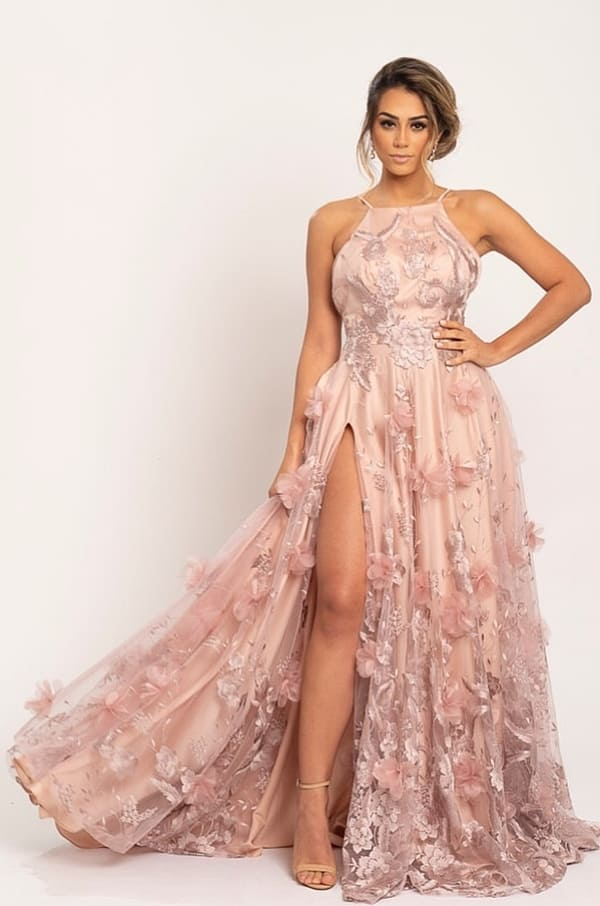 pink party dress with slit and 3D flower embroidery