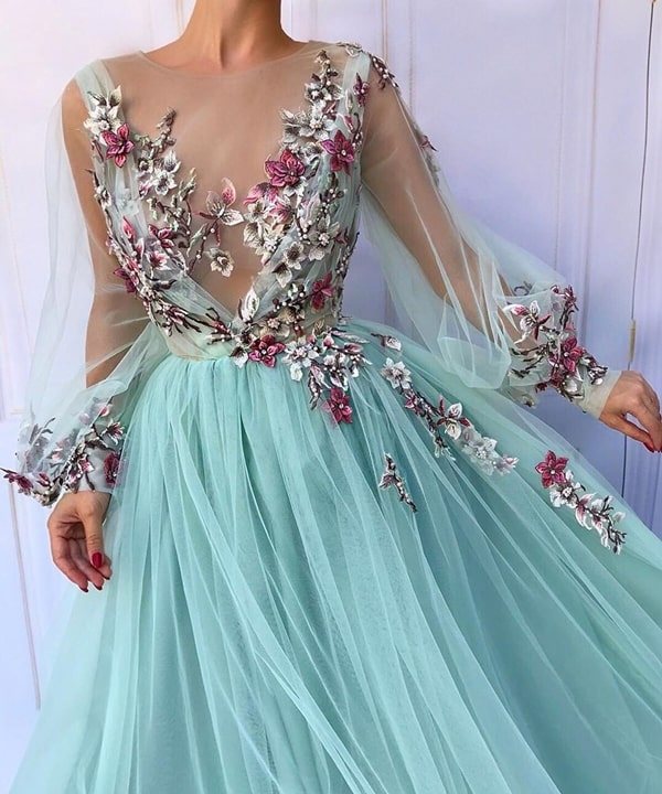 embroidered water green dress