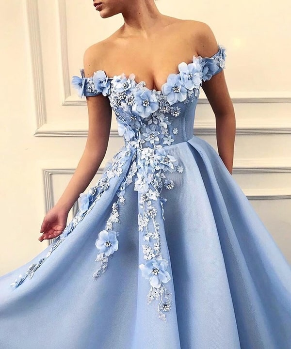blue embroidered serenity dress