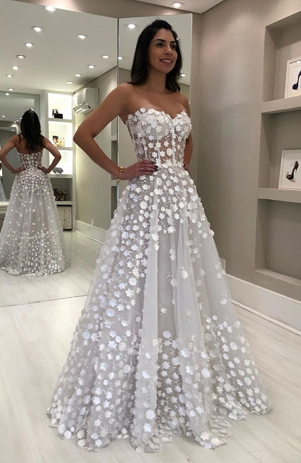 wedding dress with 3D embroidery