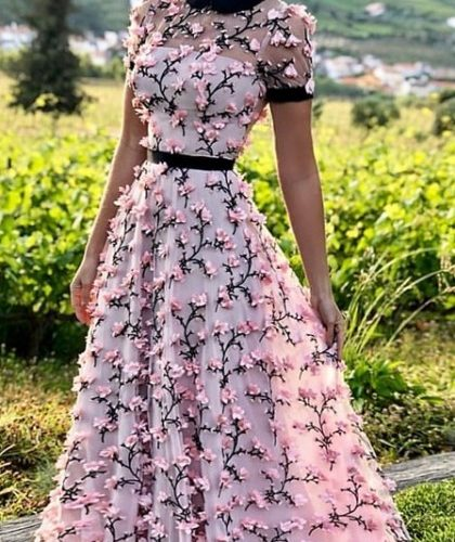 1605327882 Party dress with 3D embroidery