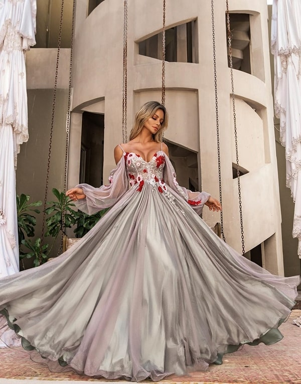 long silver party dress with puffed sleeve and embroidery