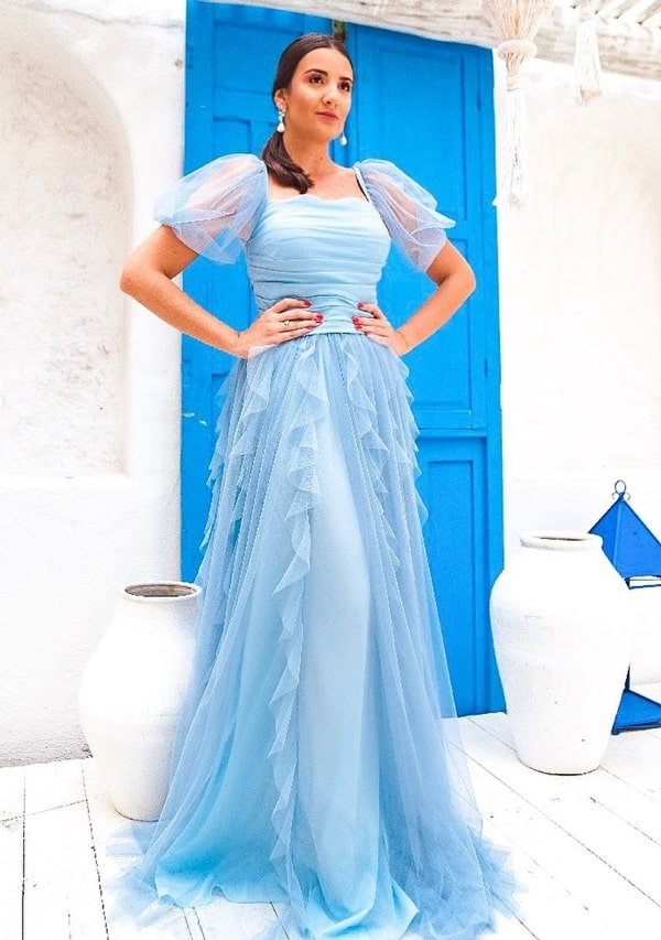 Blue serenity long dress with puffed tulle sleeve