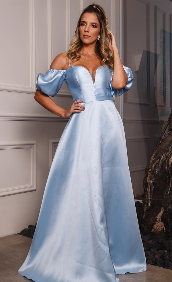 Blue serenity dress with puffed sleeves for bridesmaid