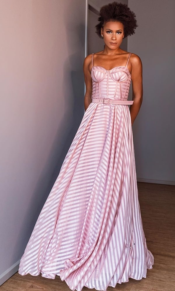 long rose striped party dress