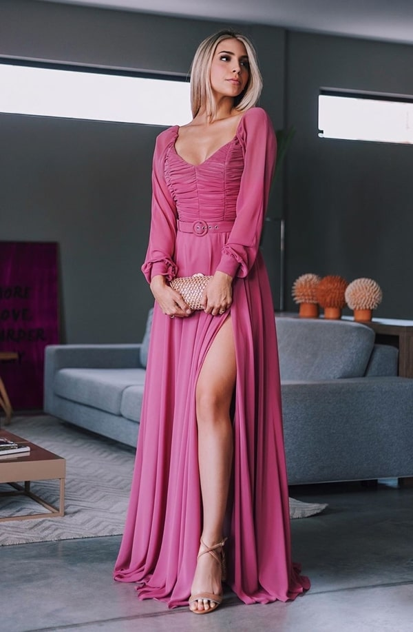 long pink party dress with long puff sleeve and slit