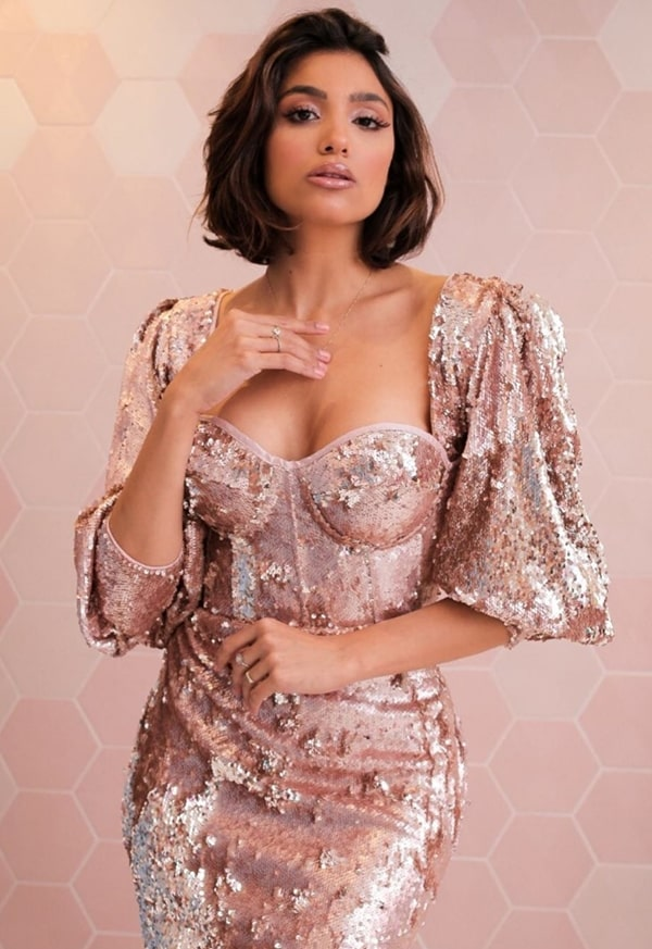 long rose sequined party dress with puffed sleeves