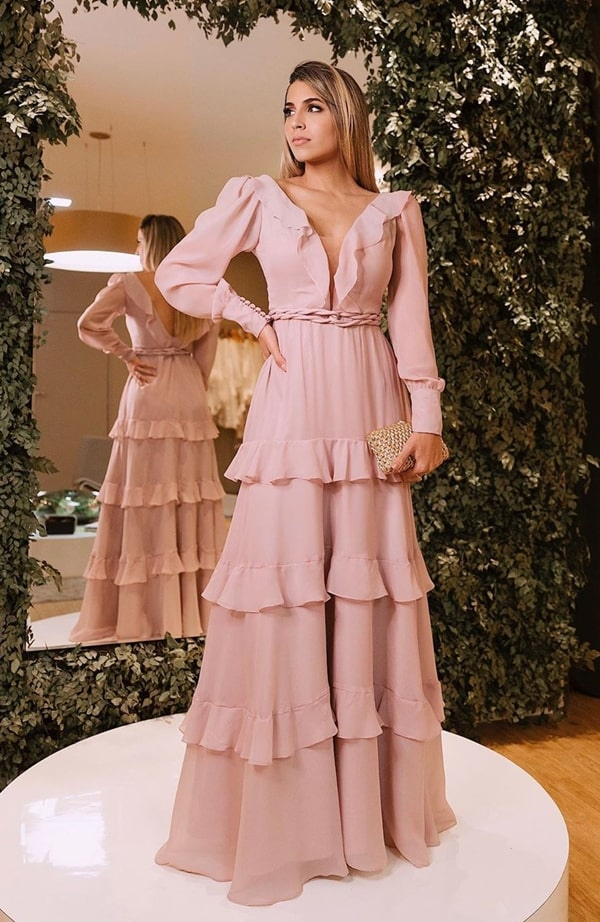long rose party dress with puffed sleeve and ruffles