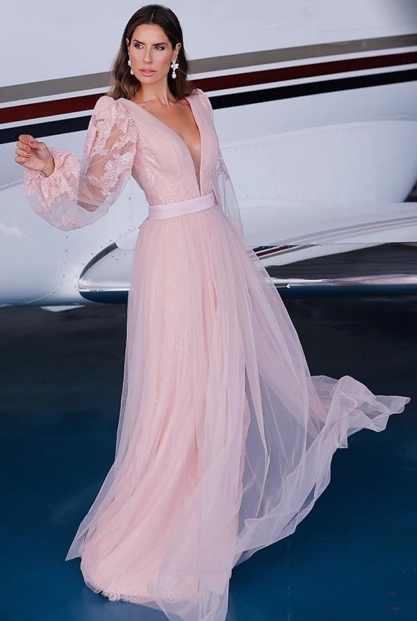 Fluid rose long dress with puffed tulle sleeves