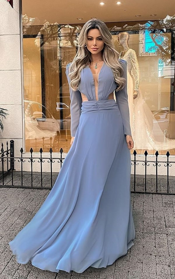 long serenity blue dress with long puffed sleeve