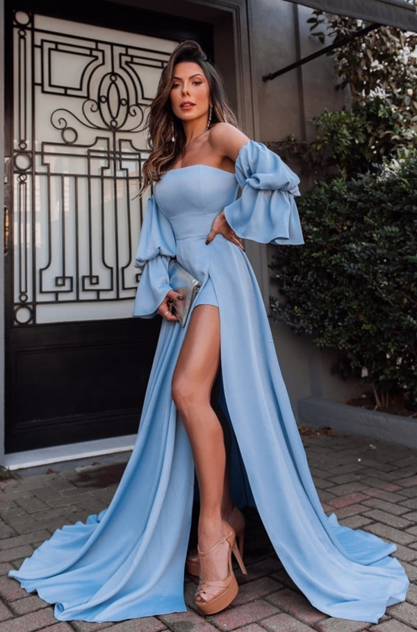 Blue serenity long dress with puffed sleeves and slit