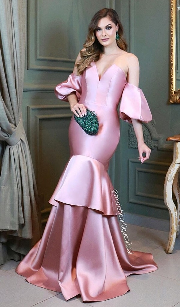 rose mermaid model party dress with puffed sleeves