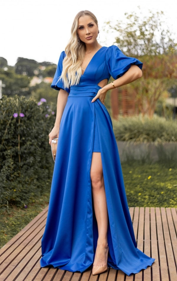 blue bic long dress with short puff sleeves