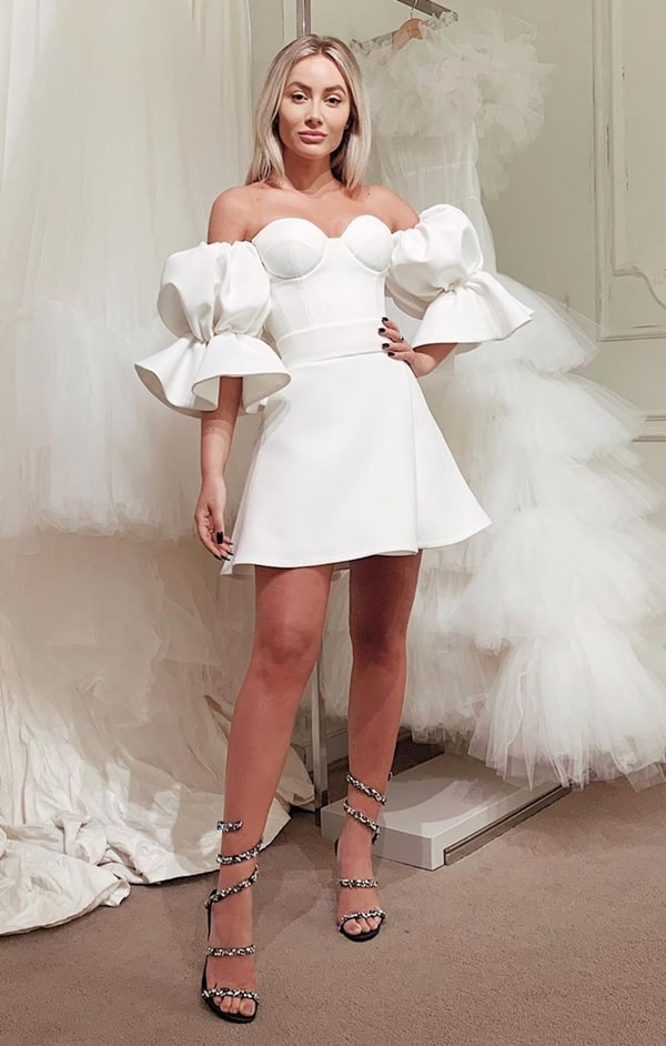 short white dress with puffed sleeves