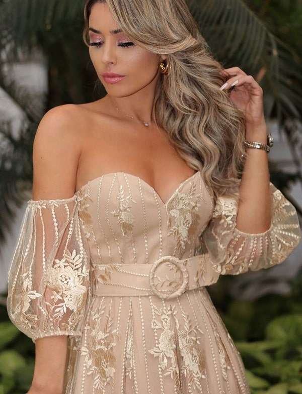nude and golden lace party dress with puffed sleeves