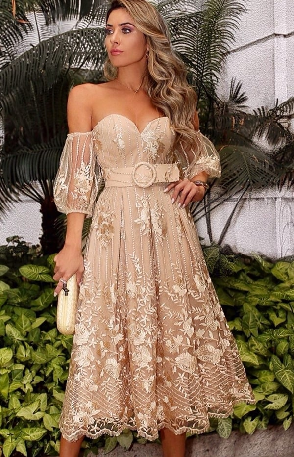 nude and gold lace midi party dress with puffed sleeves