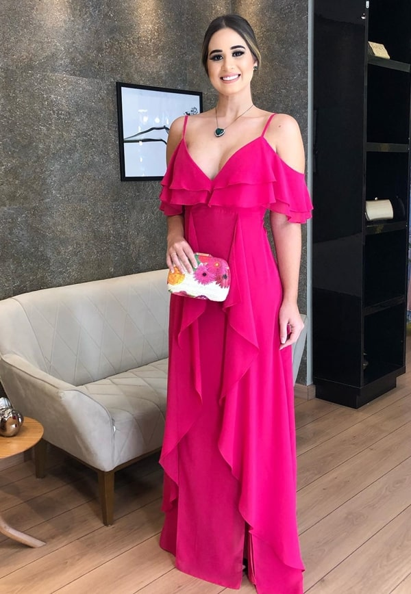 long pink dress for wedding guest during the day