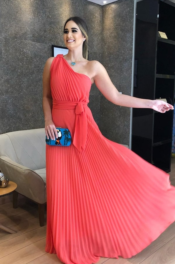 long coral dress for wedding guest during the day
