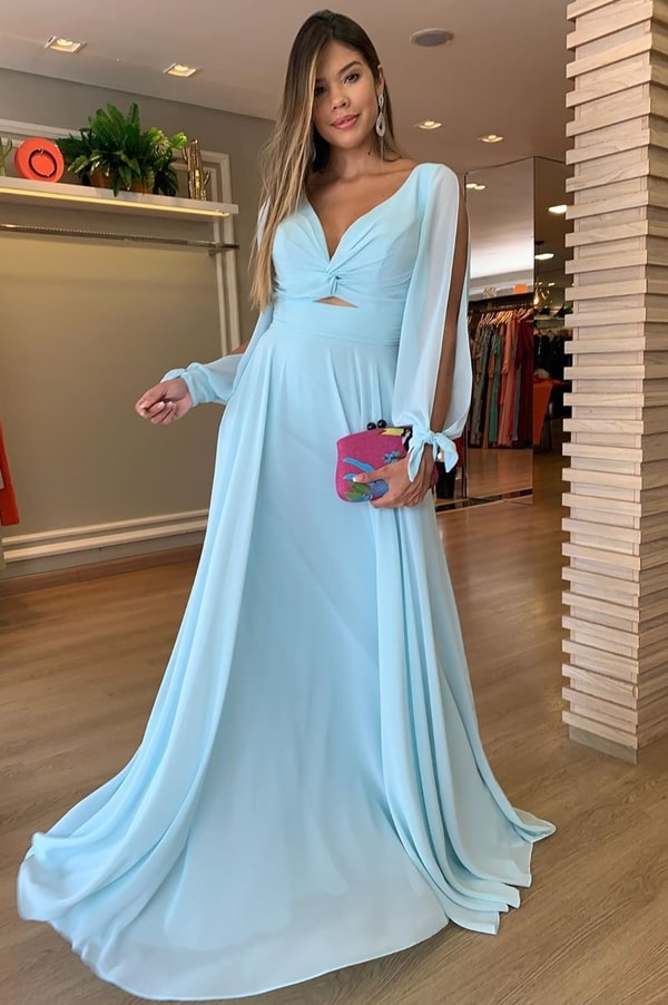 light blue long dress for bridesmaid during the day