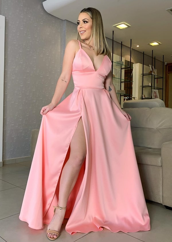 long pink dress with slit