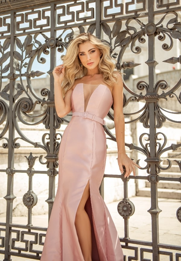 long rose mermaid model party dress with belt