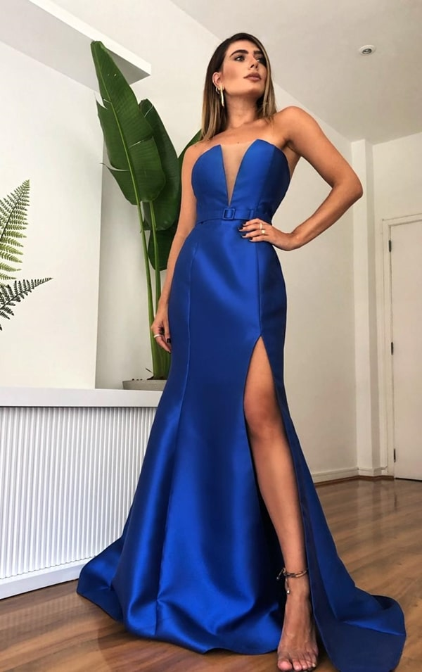 long royal blue mermaid party dress with slit