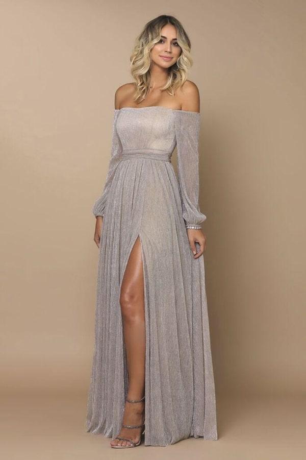 long silver party dress