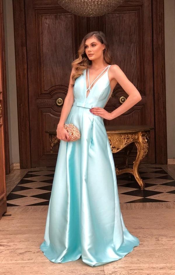 long tiffany blue party dress