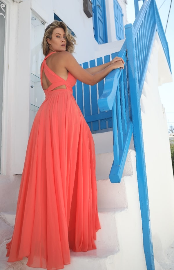 long coral party dress for bridesmaid during the day