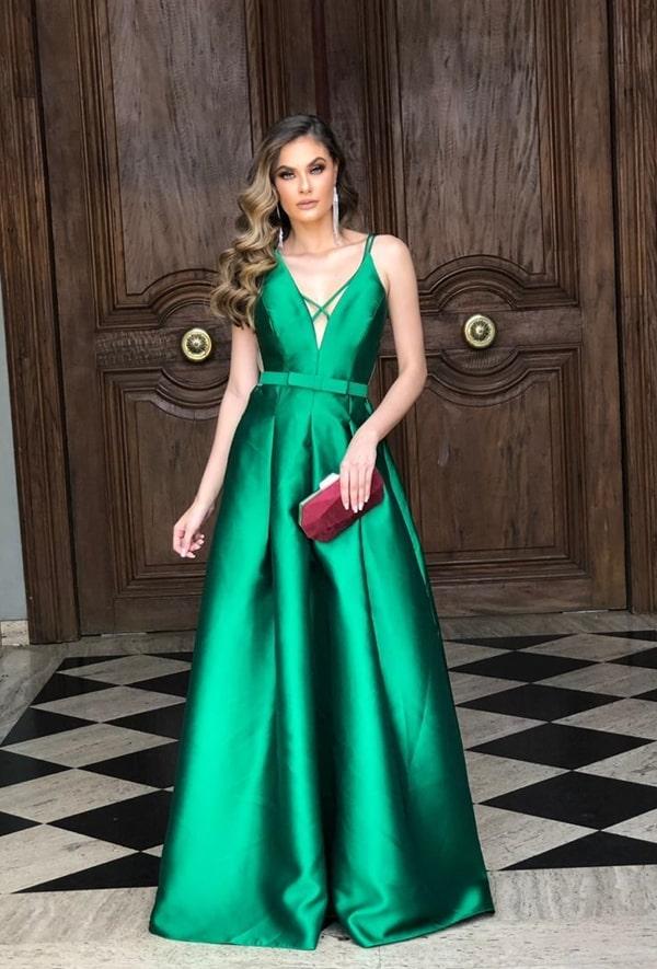 long emerald green party dress