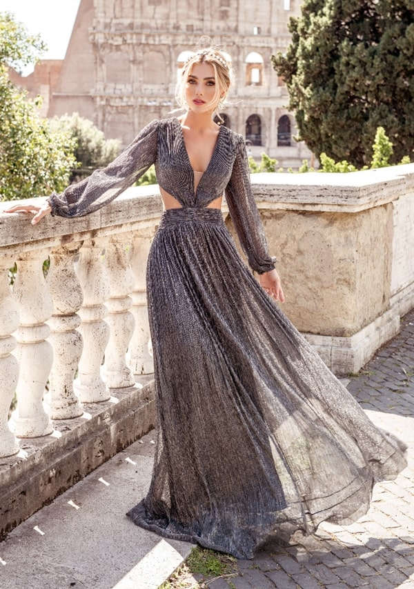 long graphite gray party dress with shining model with cutouts at the waist and long sleeve