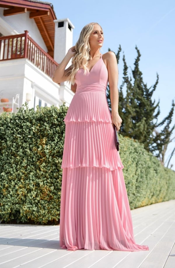 long rose party dress with ruffle