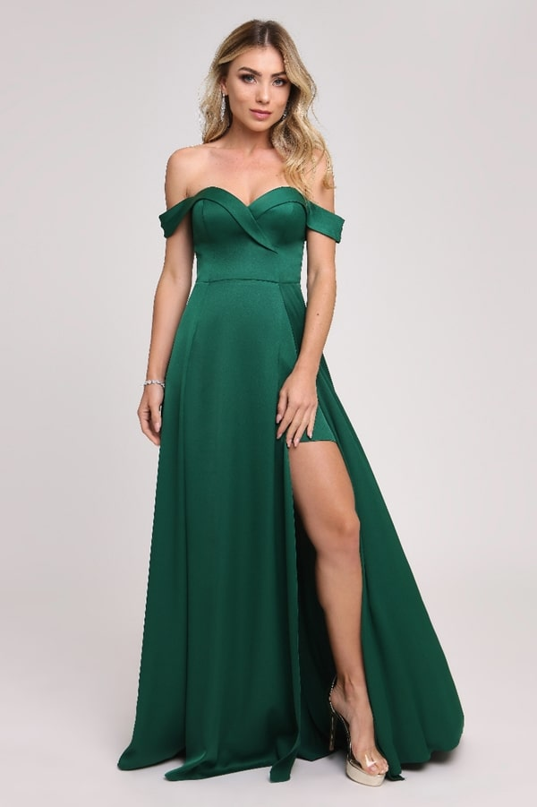 emerald green long dress with slit