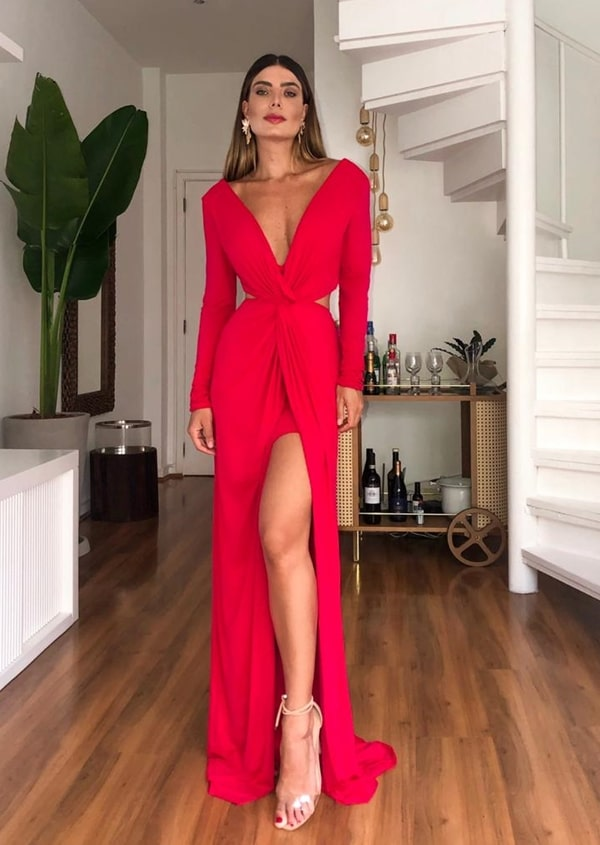 long red dress long sleeve with slit