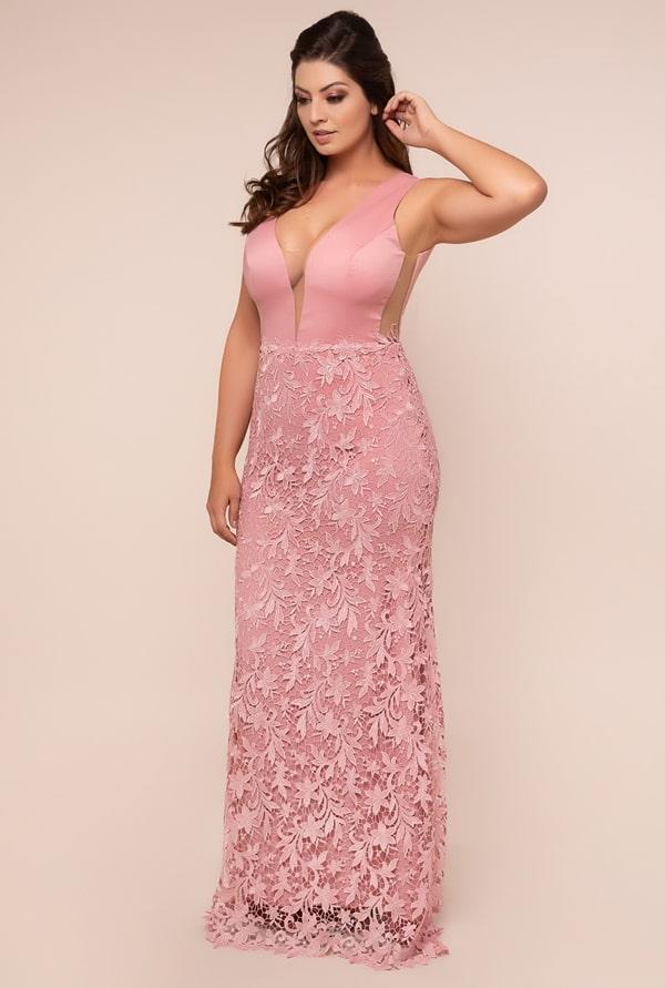 plus size rose party dress