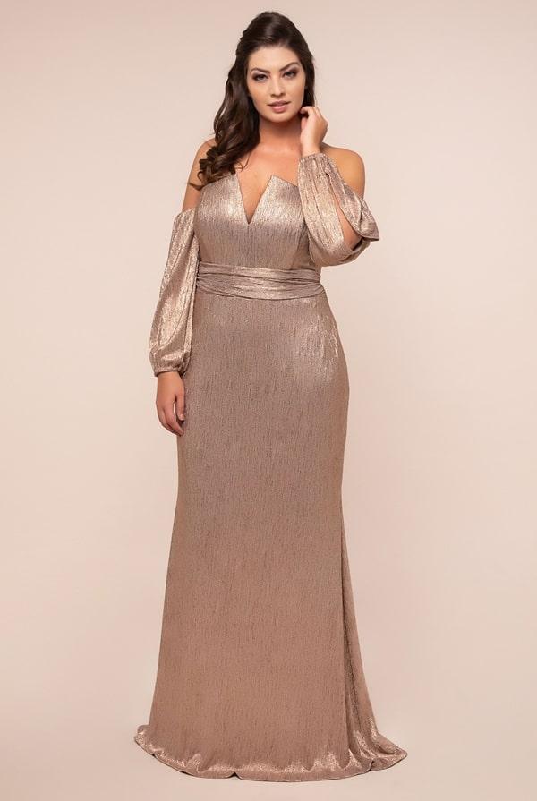 long party dress plus size golden long sleeve