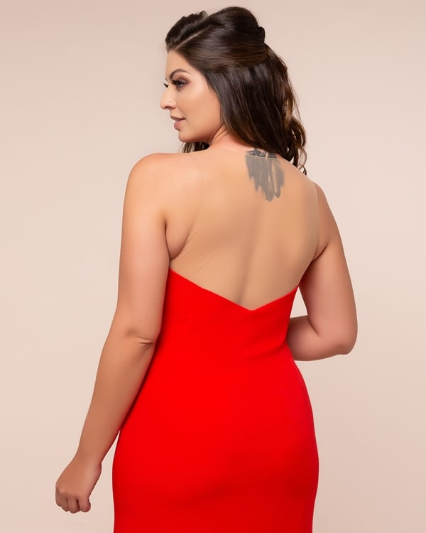 red plus size long party dress