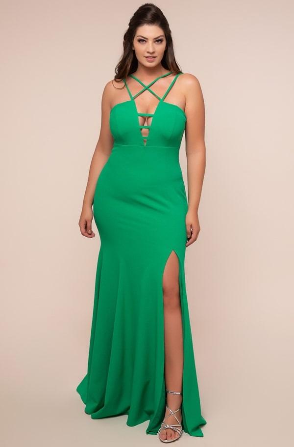 long plus size green party dress